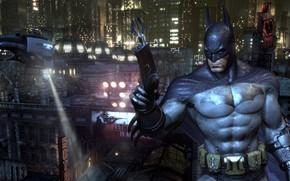 Picture The city, The game, Helicopter, Batman, Costume, Belt, City, Hero, Mask, Cloak, Superhero, Hero, Spotlight, …