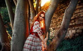 Picture look, light, tree, Girl, red, Kaan ALTINDA!