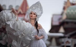 Picture girl, flowers, pose, style, makeup, dress, beads, the bride, kokoshnik, Oleg Demyanchenko, Елена Борисенкова