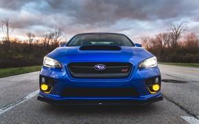 Picture Subaru, Impreza, WRX, Blue, STI, Front, Face