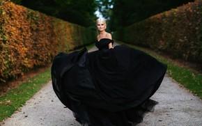 Picture autumn, look, girl, nature, pose, smile, style, Park, dress, beautiful, bokeh, Alexander Aksenteva