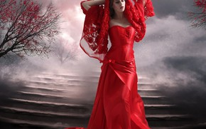 Picture girl, photoshop, ladder, red dress, photoart