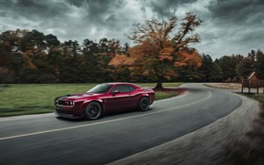 Picture autumn, speed, Dodge, Challenger, Hellcat, SRT, Widebody, 2019, by Jimmy Zhang