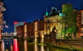 Picture the sky, trees, night, bridge, lights, home, stars, Germany, lights, channel, Hamburg