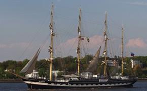 Picture shore, ship, sailboat, Kruzenshtern