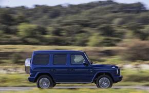 Picture blue, Mercedes-Benz, SUV, profile, 4x4, 2018, G-Class, G 500, V8
