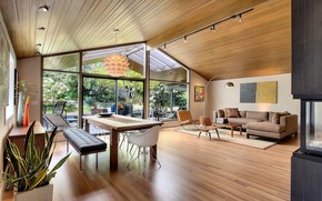 Picture design, style, interior, living room, dining room, mid-century modern style
