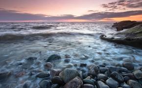 Picture sea, the sky, clouds, pebbles, stones, shore, surf