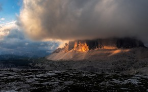 Picture the sky, clouds, light, mountains, clouds, rocks, cloud, Italy, cloud, The Dolomites, barrier, mysteriously, hidden