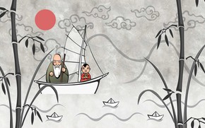 Picture boat, bamboo, the old man, boats, Japanese motifs