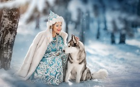 Picture winter, girl, snow, mood, dog, friendship, Maiden, friends, Husky, Yaroslav Gromov