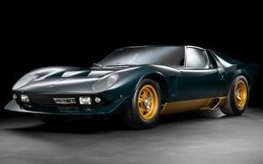 Picture dark green, super car, muira, Lamborghini miura p400