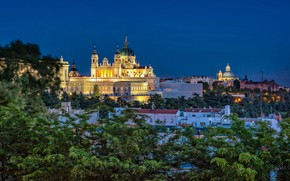 Picture trees, building, home, night city, Spain, Spain, Madrid, Madrid, Royal Palace, Royal Palace, Cathedral Of …