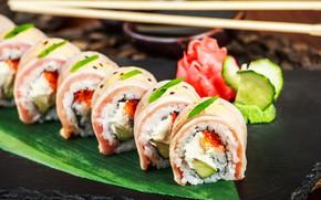 Picture sticks, figure, caviar, sushi, seafood