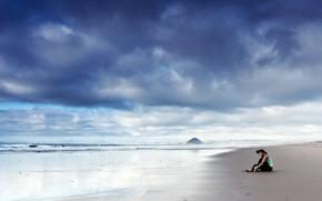 Picture beach, girl, the ocean