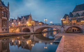 Picture bridge, the city, river, building, lights, Belgium, Ghent, turret