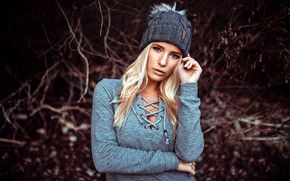 Picture look, nature, pose, background, model, hat, portrait, makeup, hairstyle, blonde, bokeh, Heiko Klingele, Maritta