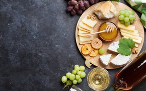 Picture wine, cheese, honey, bread, grapes