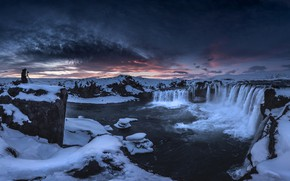 Picture winter, the sky, snow, sunset, mountains, night, clouds, rocks, tops, people, waterfall, stream, the evening, …