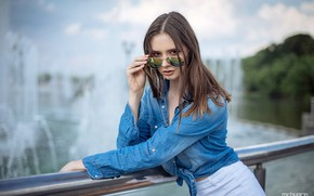 Picture look, pose, model, portrait, jeans, makeup, glasses, hairstyle, shirt, brown hair, beauty, fountains, the parapet, …