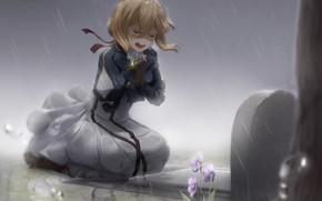 Picture girl, flowers, rain, tears, grave, Violet Evergarden