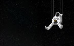Picture space, swing, bouquet, astronaut, art