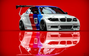 Picture BMW, Machine, Rendering, Red background, BMW 1 Series, Transport & Vehicles, Clinched, November Tlibekov, by …