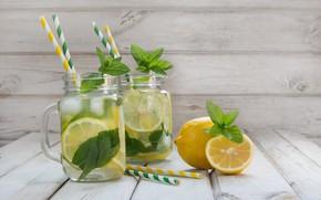 Picture ice, summer, drink, mint, lemons, lemonade