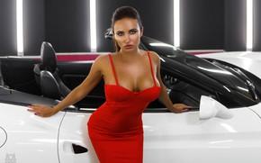 Picture machine, auto, chest, look, pose, figure, convertible, Light, red dress, Mikhail Gerasimov