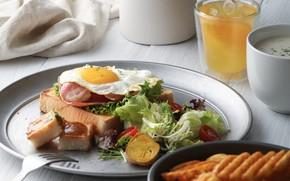 Picture egg, Breakfast, juice, vegetables, salad
