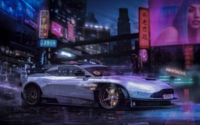 Picture Aston Martin, Auto, Machine, Style, City, Fantasy, Art, Art, Fiction, Fiction, Illustration, Concept Art, Cyberpunk …