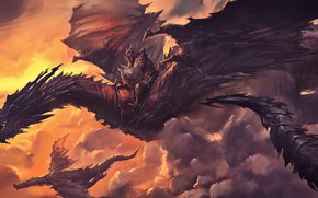 Picture fantasy, horns, armor, sunset, wings, tail, clouds, digital art, artwork, concept art, shield, warrior, fantasy …