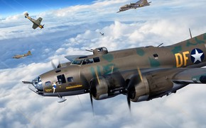 Picture USAF, B-17, The second World war, Heavy bomber, B-17F