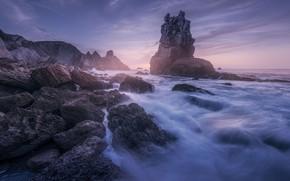 Picture sea, stones, rocks, shore, twilight