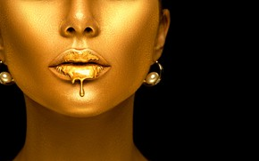 Picture face, makeup, lips, gold, model, Anna Subbotina