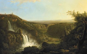 Picture landscape, oil, picture, canvas, 1825, Cornelis Apostol, The valley of the river Anio with the …