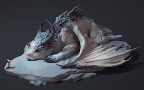 Picture mouse, fantasy, art, dragon, children's, Maria Panfilova, Dragon and mouse