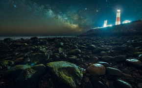 Picture sea, the sky, stars, night, pebbles, house, stones, rocks, shore, lighthouse, house, the milky way, …