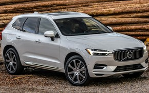 Picture car, machine, forest, lights, Volvo, wood, white, white, drives, side, crossover, beautiful car, XC60, Volvo …