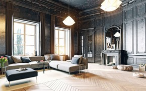 Picture design, style, interior, fireplace, living room, Antique and Modern decor style