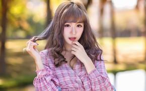 Picture look, girl, hair, Asian, bokeh