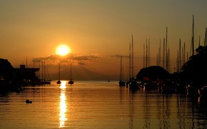 Picture sea, the sun, clouds, sunset, harbour, yacht