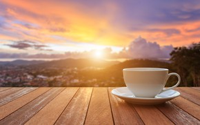 Picture sunrise, coffee, morning, Cup, veranda, cup, sunrise, coffee, good morning