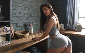 Picture look, sexy, pose, model, shorts, makeup, Mike, figure, brunette, hairstyle, kitchen, is, ass, Ildar Rivera