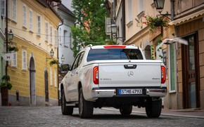 Picture white, street, Mercedes-Benz, rear view, pickup, 2018, X-Class