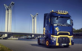Picture Renault, on the shore, tractor, 4x2, dark blue, 2019, Renault Trucks, T-series, 520 HP, T …