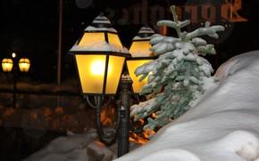 Picture winter, snow, night, Alps, lantern, Canazei