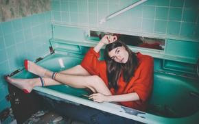 Picture look, girl, pose, feet, the situation, bath, socks, sweater, Alexandra Cameron