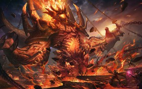 Picture Fire, Monster, Chain, Style, Battle, Chain, Flame, The demon, Fantasy, Warriors, Fire, Monster, Art, Art, …