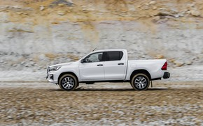 Picture white, Toyota, pickup, Hilux, in profile, Special Edition, 2019